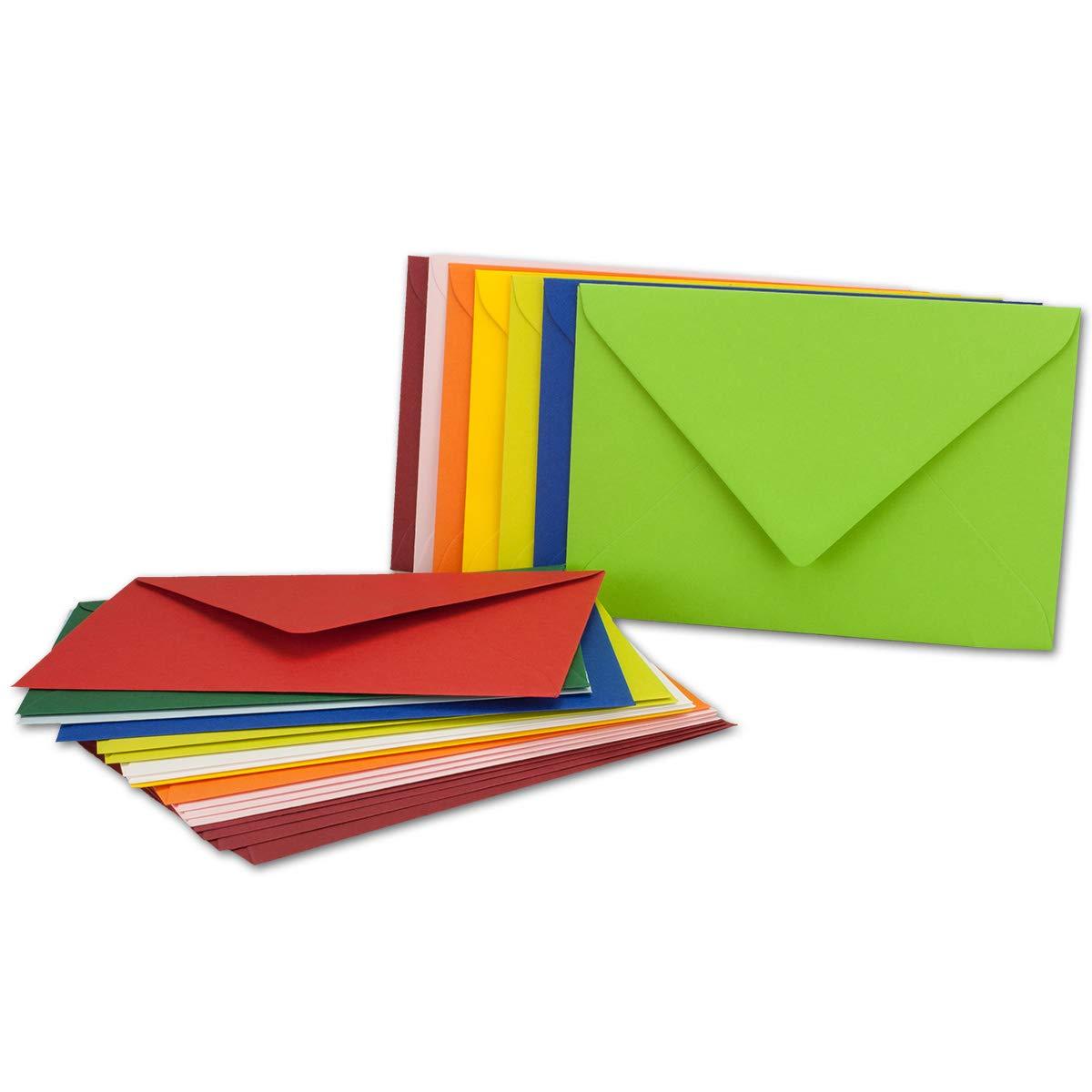 Mit und Ohne Futter Gustav NEUSER/® ca Bunte Mischung Haftklebung//Nassklebung C5-152 x 218 mm 25x farbige Brief-Umschl/äge gemischt