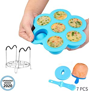 Silicone Egg Bites Molds Popsicle Mold and Egg Steamer Rack Trivet with Handles for Instant Pot Accessories, Fits Instant 6qt & 8qt Electric Pressure Cooker, Can Also be used for Diy Ice Cream