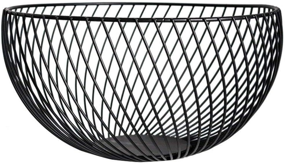 Black MoGist Modern Style Stainless Steel Chrome Plated Fruit Veg Basket Bowl Fruit Bowl Holder Fruit Rack Metal Wire Fruit Basket