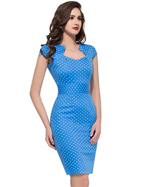 Vestidos Azules Puntitos Azules Vestido de Fiesta Causual Lápiz Vintage Vestido M 4#