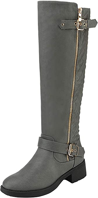 Wide-Calf Available DREAM PAIRS Summit//Trace Fashion Dual Buckles Faux Fur-Lined Knee Hight Winter Boots