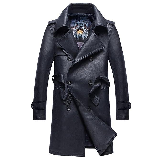 YiLianDa Chaqueta Largo De Cuero PU Para Hombre Slim Fit Abrigos Trench Coat Otoño Invierno: Amazon.es: Ropa y accesorios