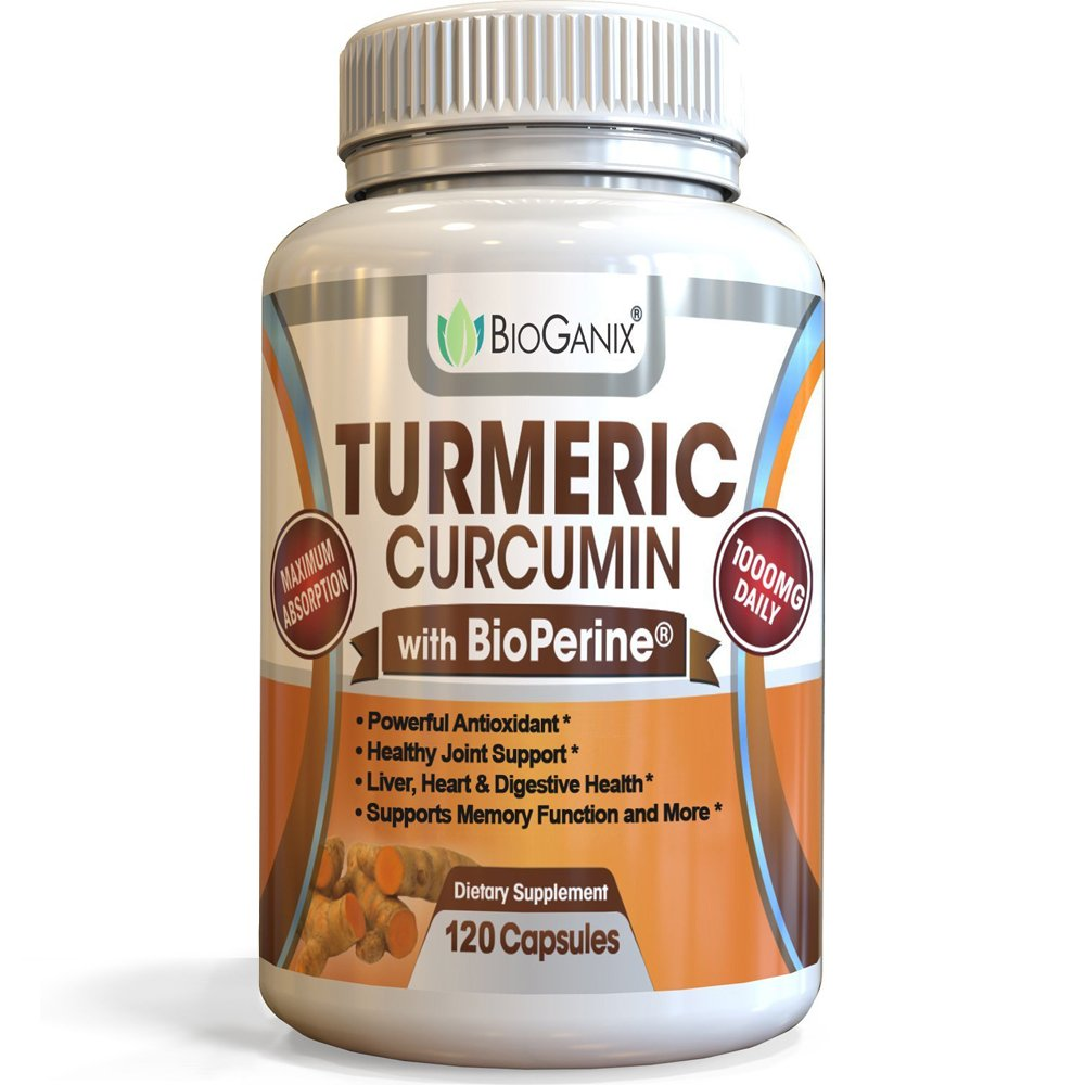 BioGanix - Turmeric Curcumin Supplement - 1000mg - 120 Anti-inflammatory Capsules