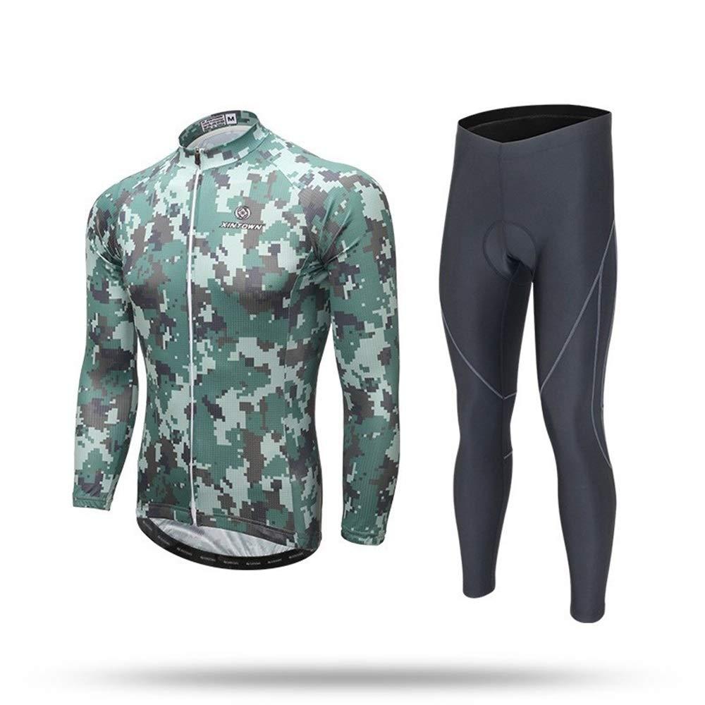 Sommer Camouflage Langarm Anzug Herren Radsport Anzug Langer Anzug Wandern Laufen Bekleidung Bike Jersey Set Fahrrad Trikot LPLHJD