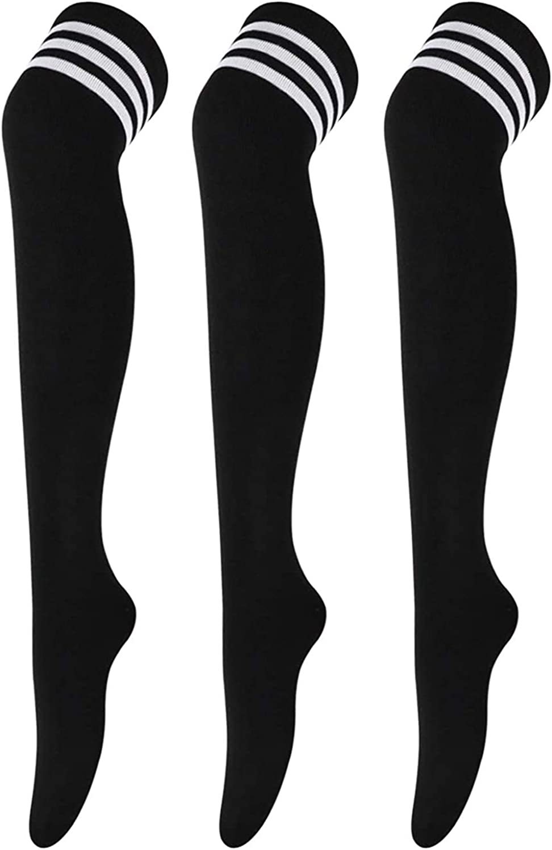 DRESHOW 3 Paires Cuissardes Chaussettes Hautes Montantes Longues Cuisse Chaussettes Dessus du Genou Jambi/ères pour Filles et Femmes