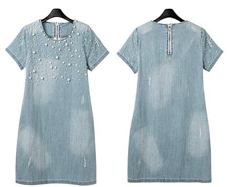 WoooInn Jeans Summer Casual Fashion Vestidos Cotton Dresses Women Plus Size Light Blue M