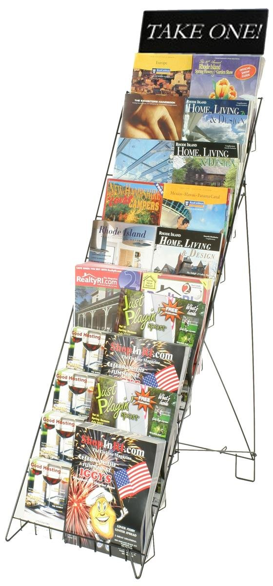 Displays2go Wire Literature Rack for Floor with 10 Tiers, 47-Inch Height Magazine Stand with Header Holds 20 Full-size Catalogs, Black (WRF10T185)