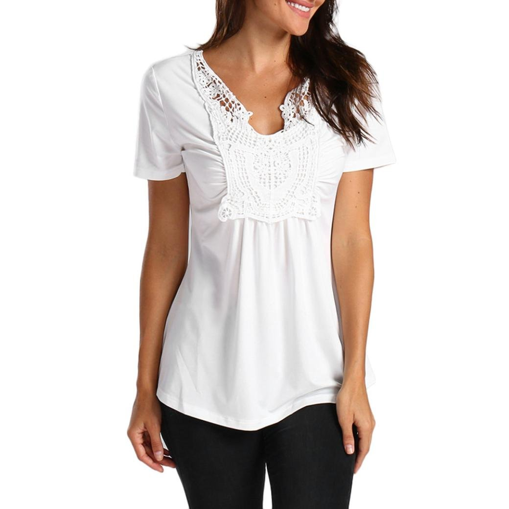 Women Lady Summer T-Shirt Lace Splice Pleated Casual Short Sleeve Tops Blouse Tee (White, XL)