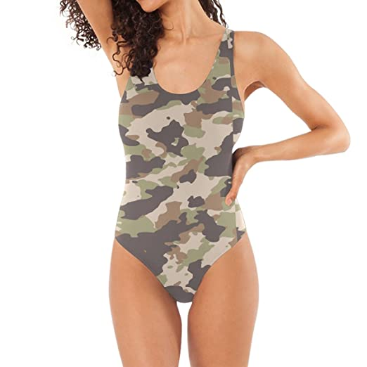 181d2cf5b6e Image Unavailable. Image not available for. Color  super3Dprinted Military Camo  Camouflage Pattern Print Women s One Piece Swimsuit Swimwear ...