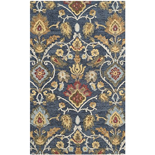 Safavieh Blossom Collection BLM402A Handmade Navy and Multi Premium Wool Area Rug (6' x 9')