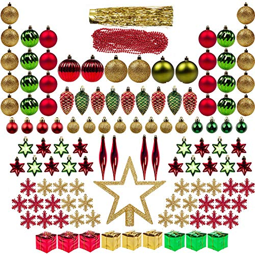 ITART 122ct Christmas Tree Ornaments Decorations Assortment Including Tree Topper Balls Snowflakes Stars Pine Cones Miniature Gift Boxes Tinsel and Beads Garlands Finial (Red, Gold and Green)