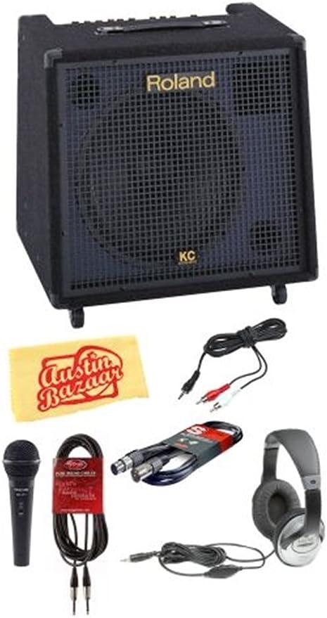 Roland KC-550 - Amplificador de teclado estéreo de 4 canales, 180 W, con micrófono, cable XLR de 20 pies, cable de 20 pies, cable de instrumento de ...