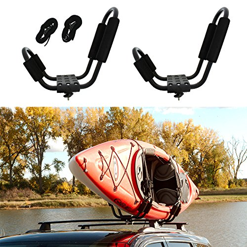 (ABN Kayak Roof Rack J Rack Mounted Roof Top Carrier - Kayak, Canoe, SUP, Ski, Surf J Bar Vehicle Attachment Holder)