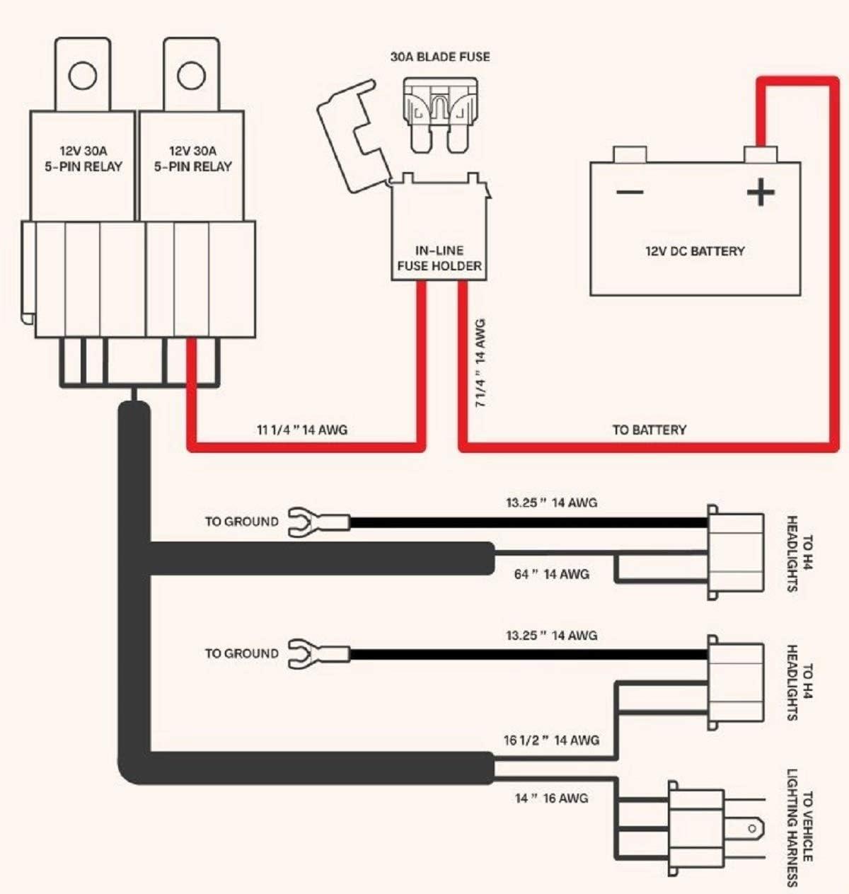 Amazon.com: OCTANE LIGHTING Ceramic H4 Headlight Relay Wiring Harness 2  Headlamp Light Bulb Socket Plugs 7X6: AutomotiveAmazon.com