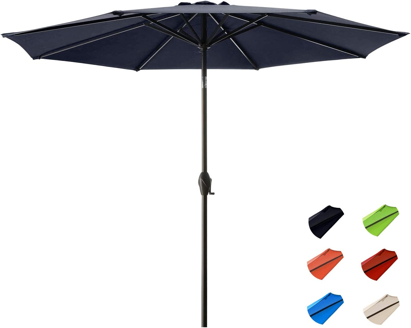 KITADIN Patio Umbrella - Outdoor Market Table Umbrellas with Push Button Tilt and Crank Lift,8 Sturdy Square Ribs…