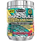 MuscleTech Amino Build Next Gen Energized, Best BCAA Amino Acids Formula with Energy, Fruit Punch, 10.03 oz. (284g)