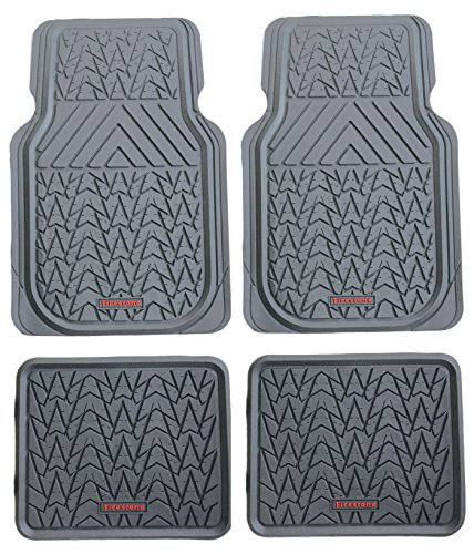 Firestone FS-1948 All-weather Grey Heavy Duty Rubber Floor Mats 4-piece