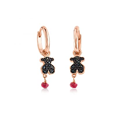 0f079b02f9c5a Amazon.com: TOUS Motif Black Spinnel and Ruby Bear Hoop Earrings ...