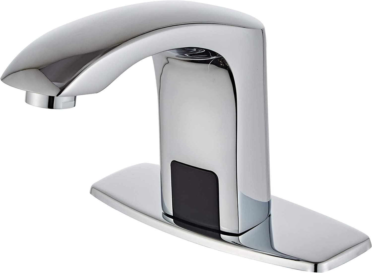 Luxice Sensor Automatic Touchless Bathroom Sink Faucet Hot & Cold Mixer Cover Plate Included Faucet, Chrome Finished - -