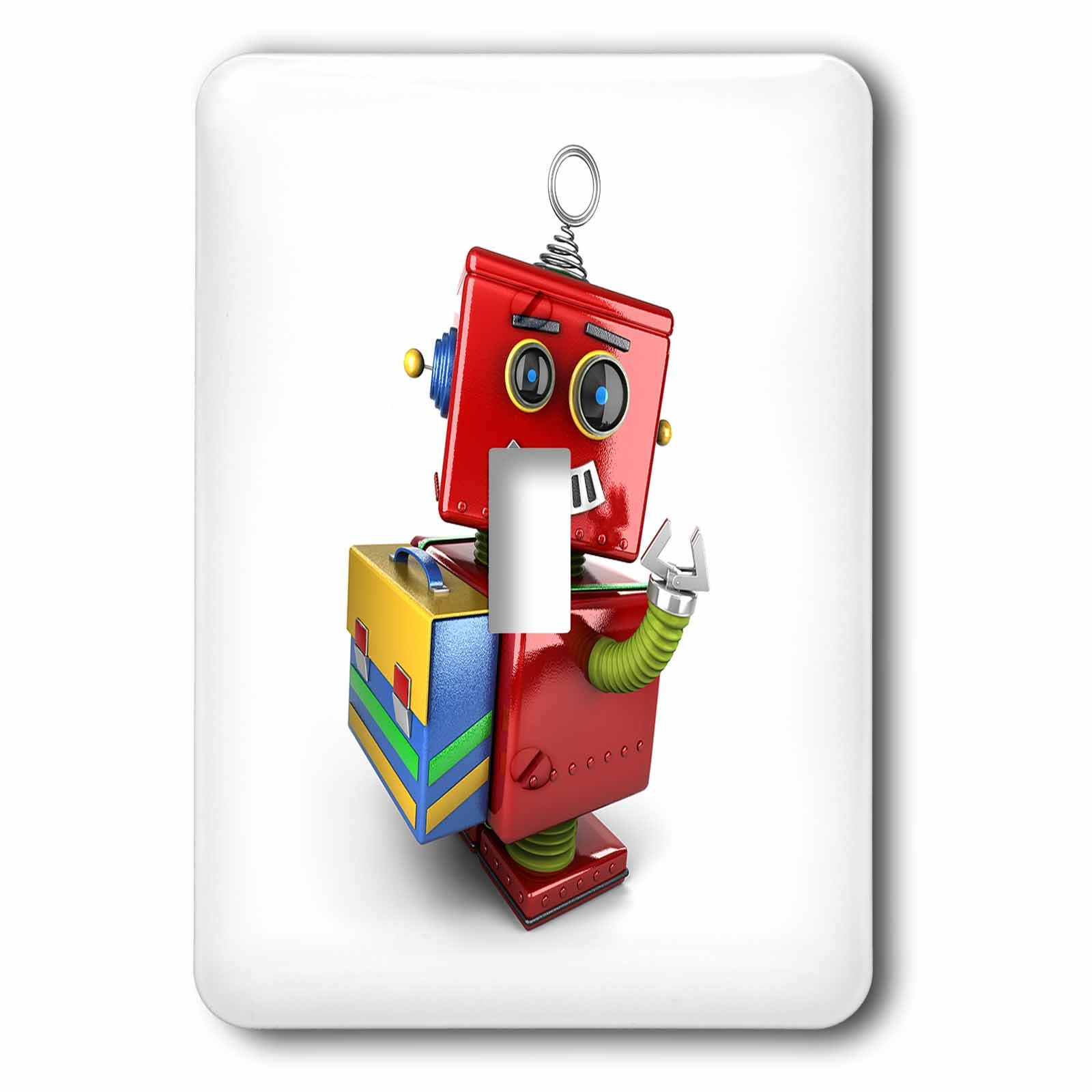 3dRose lsp_165724_1 Cute Vintage Toy Robot With School Satchel Toggle Switch