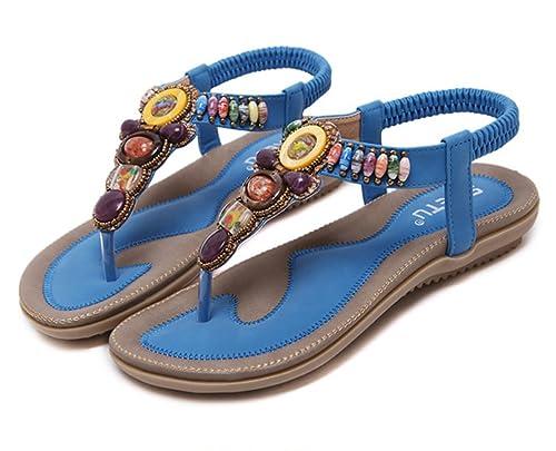 101b3382ac246 Women Bohemia Beaded Herringbone Sandals Clip Toe Flat Flip-flops Sandals  Beach Shoes Summer (