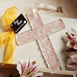 """Fashioncraft Murano Glass Collection Hanging Cross Favors (Pink), 4.25"""" X 3.125"""" X 25"""""""