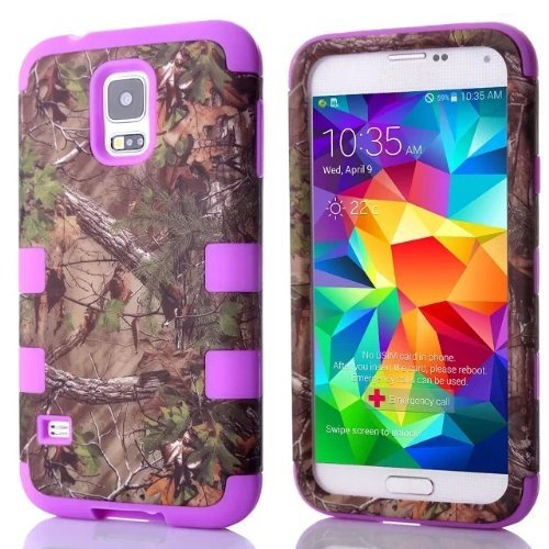 Tech Express (Tm) Camouflage Hunter Series Real Camo Tree Hybrid Impact Defender Durable Cover Case for Samsung Galaxy S5 / SV i9600 (Purple)