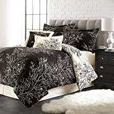 Spirit Linen Hotel 5Th Ave 6-Piece Foliage Collection Plush Reversible Comforter Set, Queen, Black/Ivory