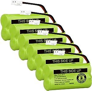 iMah BT18433/BT28433 2.4V 500mAh Cordless Phone Battery Compatible with AT&T VTech BT184342/BT284342 BT-8300 BT1011 BT1018 BT1022 BT1031 89-1326-00-00 89-1330-01-00 CPH-515D, Pack of 6