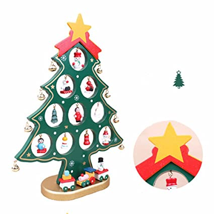 zeonkit german style 11inch wooden diy christmas tree for desk tabletop with small decorative accessories - Small Decorated Christmas Trees