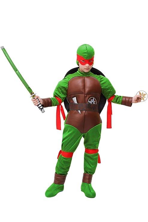 Vestito Costume Maschera Di Carnevale Bambino Tartaruga Ninja