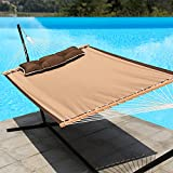 "Image of LazyDaze Hammocks 55"" Quick-Dry Woven Double Hammock Swing with Pillow for Two Person Heavy Duty, Tan"