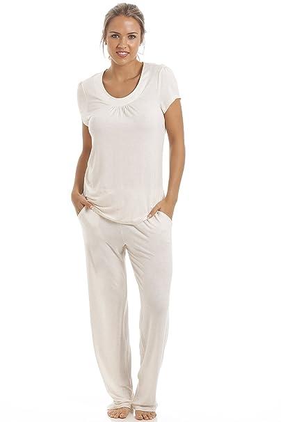 Camille - Conjunto de pijama largo para mujer - De modal - Crema 42