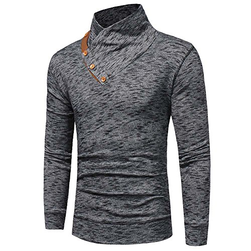 GDJGTA Tops for Mens Autumn Winter Button Slim Fit Sweatshirt Tops Long-Sleeved T-Shirt Gray