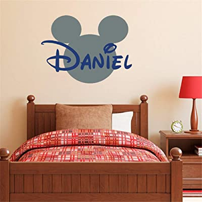 Mickey Mouse Wall Art Decal Sticker Mickey Mouse Name Wall Decal Head Ears Personalized Name Stickers Nursery Wall Decals Babyroom: Home & Kitchen