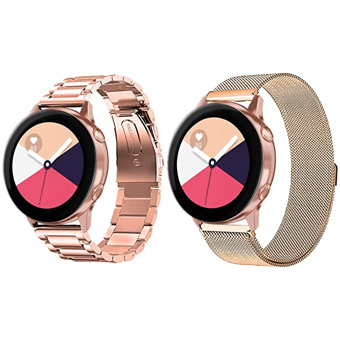 Diruite for Samsung Galaxy Watch Active 40mm Band Strap, 20mm Stainless Steel Band + Milanese Loop Mesh Strap Band Replacement for Galaxy Watch Active ...