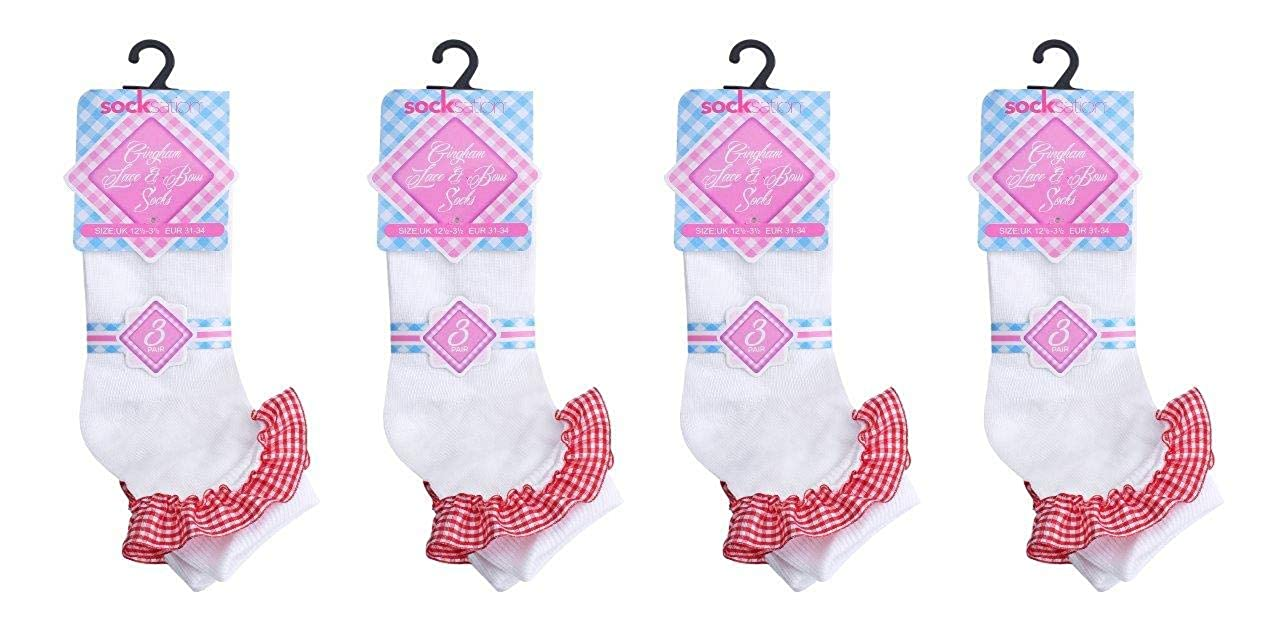 Lace Socks Frill White Fancy lace ankle socks School Dance Uniform Ballet Girls Kids Size 12-3 7-10 years