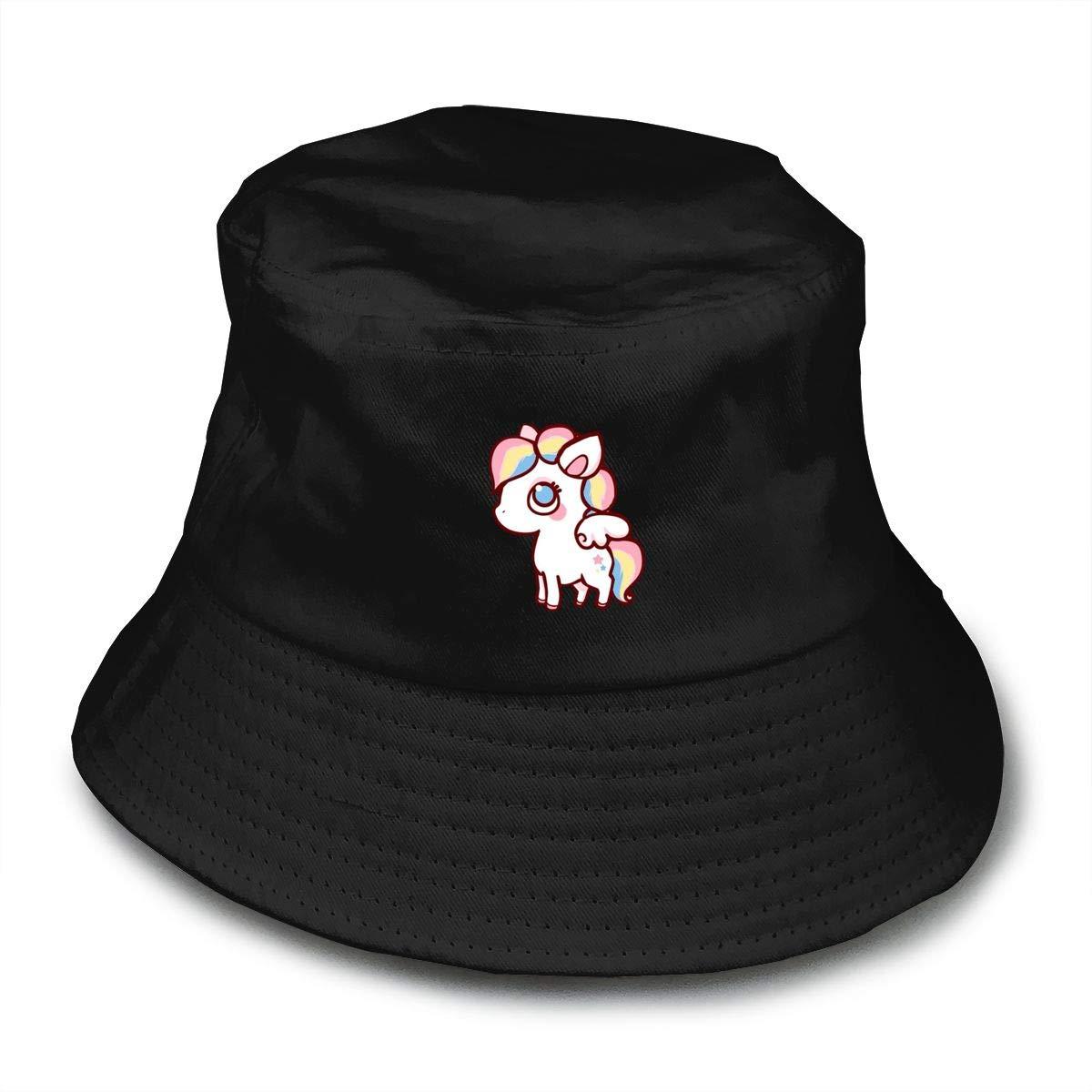Unicorn Unisex Cotton Packable Pink Travel Bucket Hat Fishing Cap
