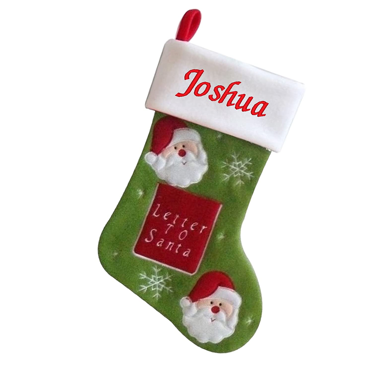 Luxury Deluxe Personalised Embroidered Christmas Letter 2 Santa Xmas Stocking (Santa) D3