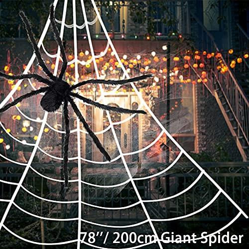 Halloween Deko Spinne mit roten LED-Augen und gruseligem Sound, 1,2m große Spinne, 5m Spinnennetz, 20g Dehnbare Spinnenseide, 10 kleine Plastikspinne, Halloween Deko Garten Horror Spinne Requisiten