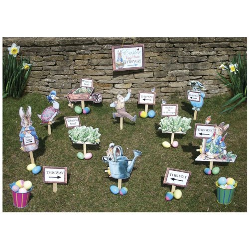 Peter Rabbit Easter Egg Hunt Kit (12 Pieces with stakes) and a Hanging Sign Beatrix (Easter Rabbit Eggs)