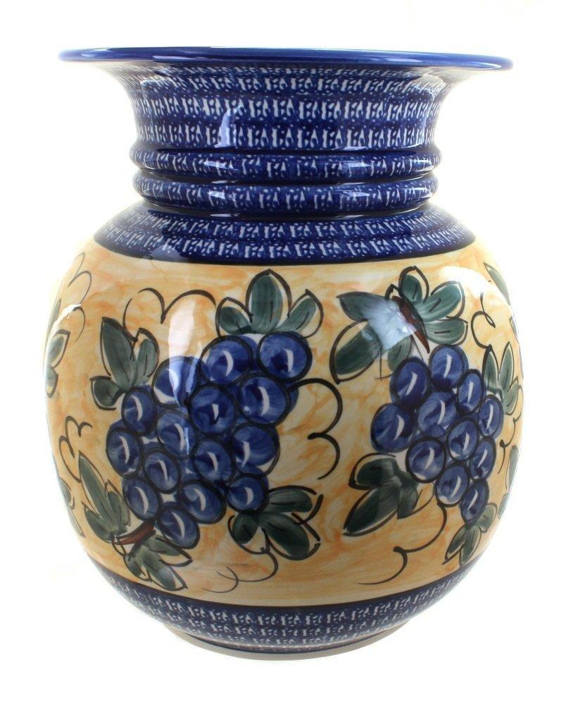 ポーランド陶器ぶどう床花瓶コバルトトリム B002S0VPWC