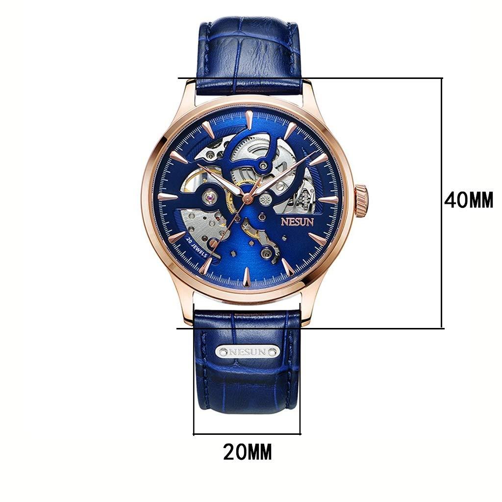 Wyx herrklocka, företag ultratunn automatisk mekanisk klocka ihålig transparent vattentät lysande (blå) WTR a