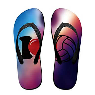 Unisex Non-slip Flip Flops Volleyball Love Space Cool Beach Slippers Sandal