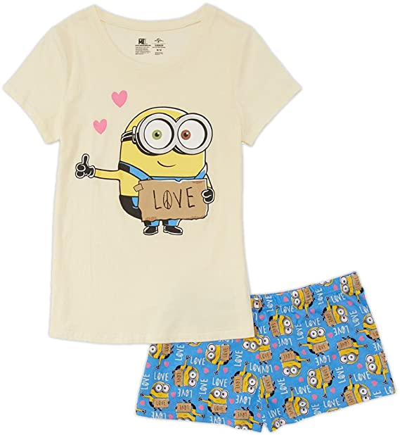 5ee6f637114b Despicable Me Minions Juniors Shorts Pajamas Set (Teen Adult) at Amazon  Women s Clothing store