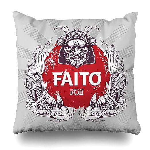 ArTmall - Funda de almohada con diseño de flores rojas y ...
