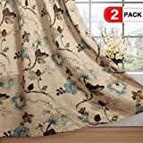 Vintage Floral with Brown Aqua Taupe Pattern Blackout Living Room/Bedroom Window Curtains (2 Panels, Copper Grommets, 52 by 84 inch Long)