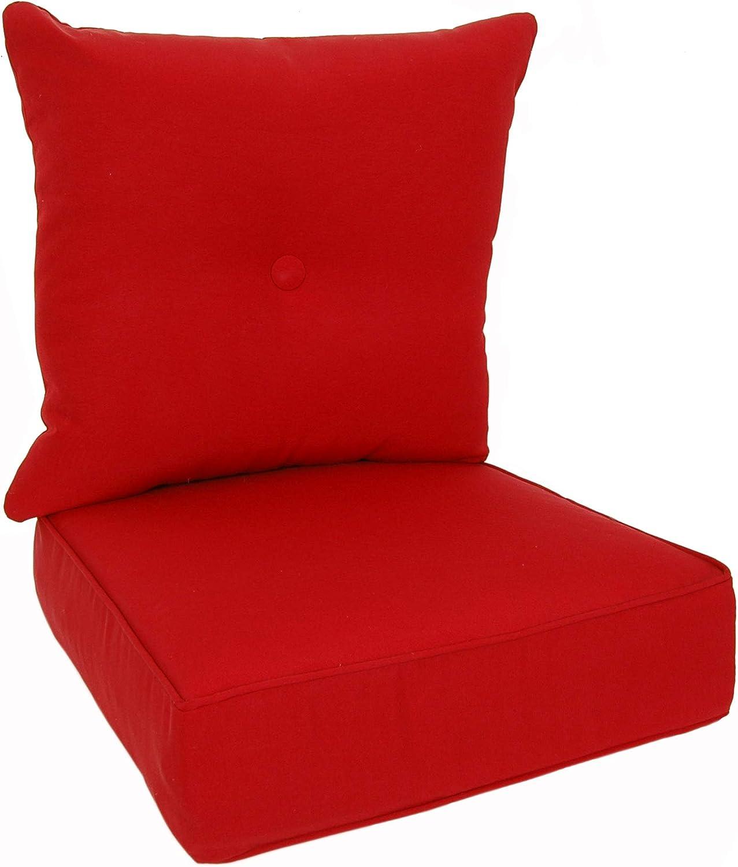 RULU 02189 Patio Cushion Outdoor/Indoor Sunbrella, Seat 22x22x6 inch + Back 23x23x7 inch, Canvas Jockey Red