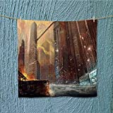 AuraiseHome travel towelthe city after war realistic style scene wallpaper design Luxury Hotel & Spa Towel W13.8 x W13.8