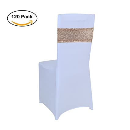 Awesome Pack Of 120 Pcs Sequins Sash Chair Cover Band For Wedding Party Decoration Soft Sashes Rose Gold Alphanode Cool Chair Designs And Ideas Alphanodeonline